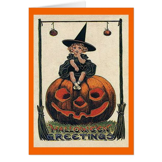 Vintage Halloween Girl on Jack o'Lantern Card