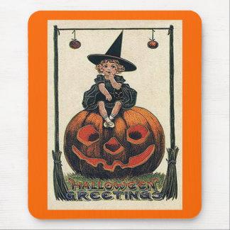 Vintage Halloween Girl on Jack o'Lantern Mouse Pad