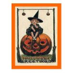 Vintage Halloween Girl on Jack o'Lantern Post Cards