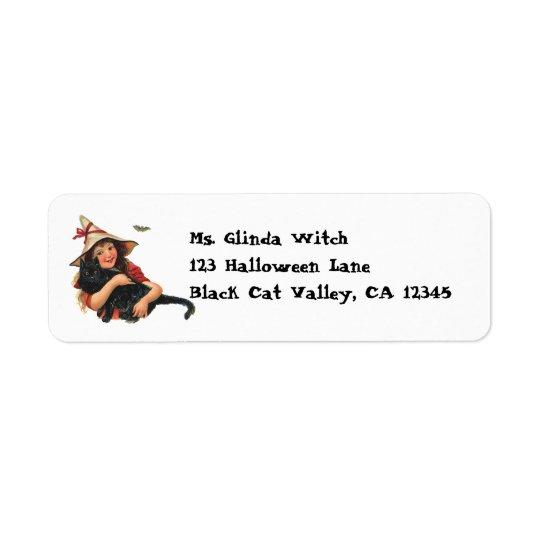 Vintage Halloween, Girl Witch with Black Cat Return Address Label