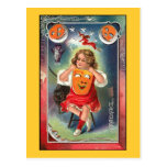 Vintage - Halloween Girl with Mask Post Cards
