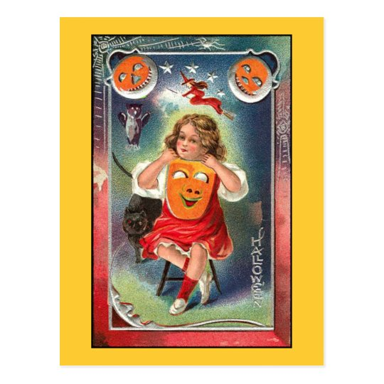 Vintage - Halloween Girl with Mask Postcard