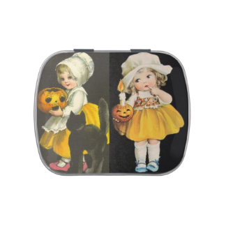 Vintage Halloween Girls Candy Tin Favor