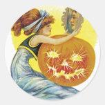 Vintage Halloween Glamour Classic Round Sticker