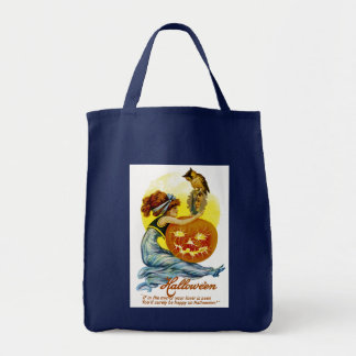 Vintage Halloween Glamour Grocery Tote Bag