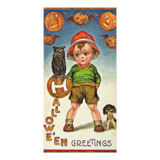 Vintage Halloween Greeting Customized Photo Card