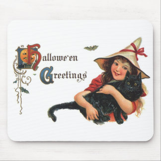 Vintage Halloween Greetings, Child Witch with Cat Mouse Pad