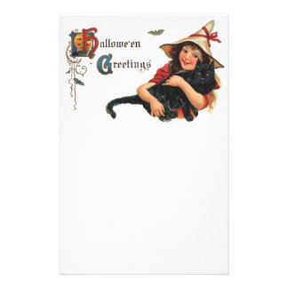 Vintage Halloween Greetings, Child Witch with Cat Stationery