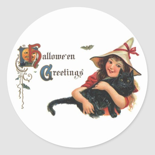 Vintage Halloween Greetings, Cute Witch and Cat Stickers