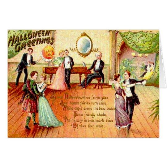 Vintage Halloween Greetings Dancing Card