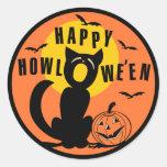 Vintage Halloween - Happy Halloween Black Cat Round Sticker