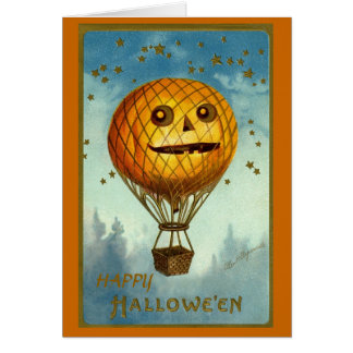 Vintage Halloween Hot Air Balloon Card