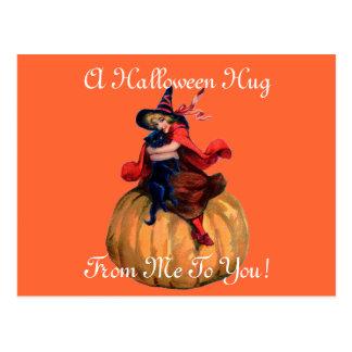 Vintage Halloween Hug Postcard