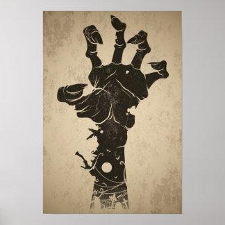 Vintage Halloween Icon - Zombie Hand Poster
