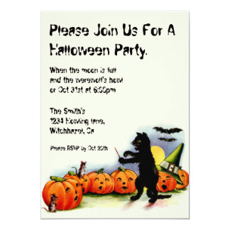 Vintage Halloween Invitation on Recycled Paper