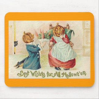 Vintage Halloween Jack o'Lantern Couple Mouse Pads