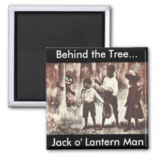 Vintage Halloween Jack o'Lantern Man Square Magnet