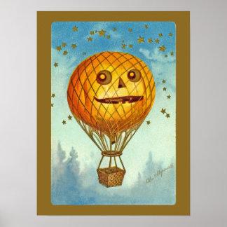 Vintage Halloween JOL Hot Air Balloon Poster