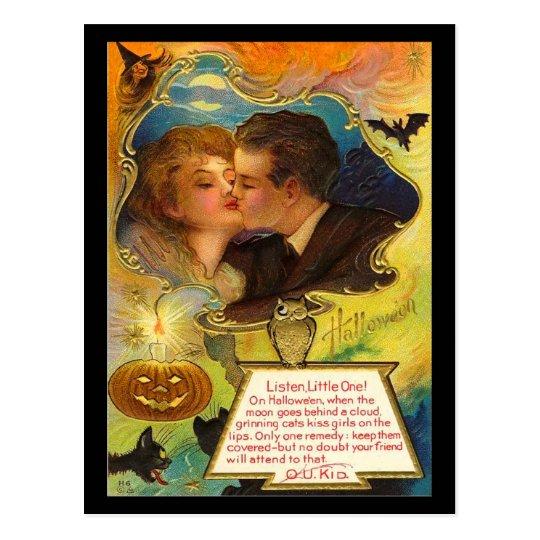 Vintage Halloween Kiss Postcard
