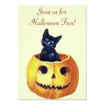 Vintage Halloween Kitty Invitations