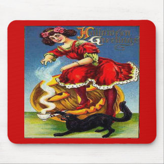 Vintage Halloween Lady in Red Mouse Pad