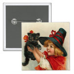 Vintage Halloween Little Witch Holding Black Cat 15 Cm Square Badge