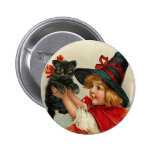 Vintage Halloween Little Witch Holding Black Cat 6 Cm Round Badge