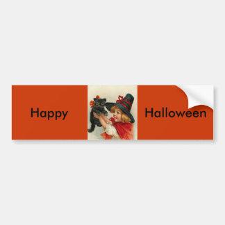 Vintage Halloween Little Witch Holding Black Cat Bumper Sticker