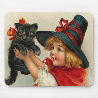 Vintage Halloween Little Witch Holding Black Cat Mouse Pad