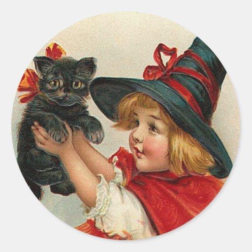 Vintage Halloween Little Witch Holding Black Cat Round Sticker