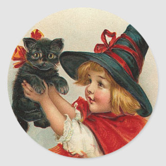 Vintage Halloween Little Witch Holding Black Cat Round Stickers