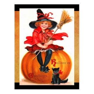Vintage Halloween Little Witch Postcard