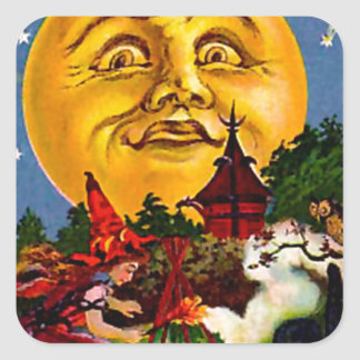 Vintage Halloween Moon and Witches Square Sticker