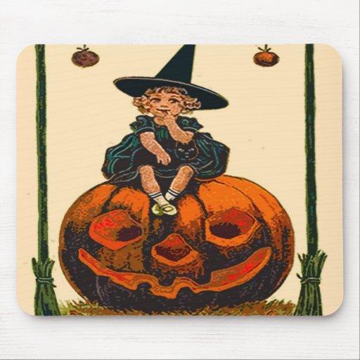 Vintage Halloween Mouse Pad | Kid and Pumpkin