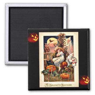 Vintage Halloween Nightmare Square Magnet