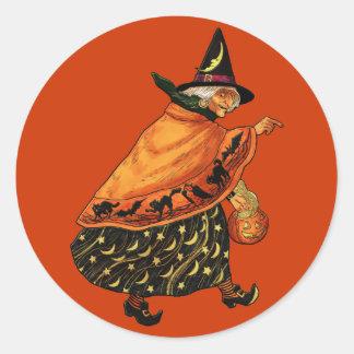 Vintage Halloween Old Witch Round Sticker