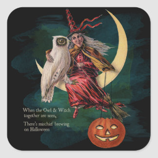 Vintage Halloween Owl and Witch Stickers