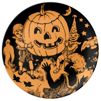 Vintage Halloween Party Plate