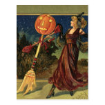 Vintage Halloween, Pretty Witch Dance Postcard