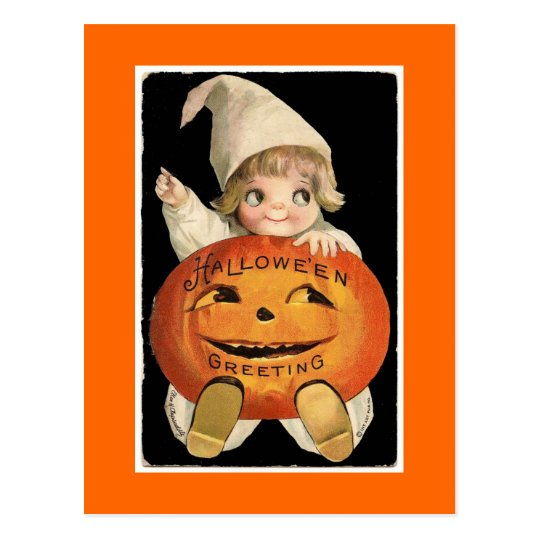 Vintage Halloween Pumpkin Baby -Postcard Postcard