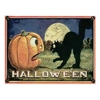 Vintage Halloween Pumpkin  & Cat in Mosaic Postcard