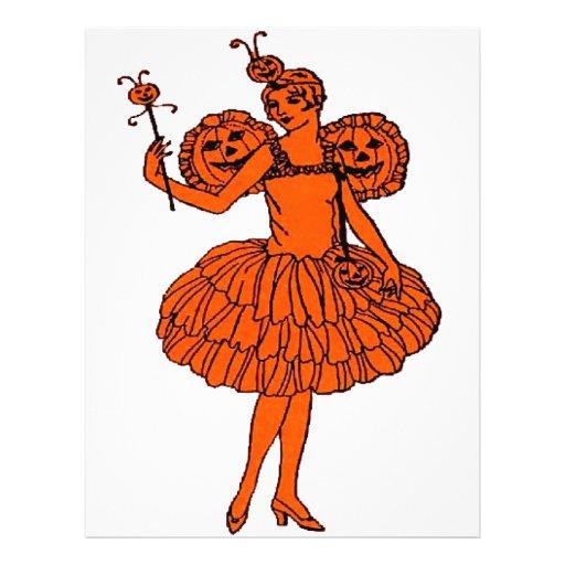 Vintage Halloween Pumpkin Fairy Flyers