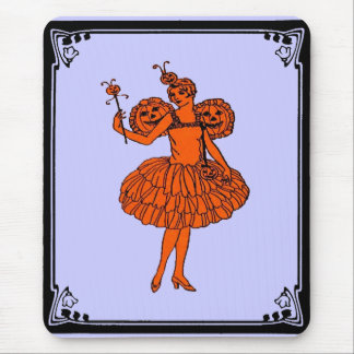 Vintage Halloween Pumpkin Fairy Mouse Pad