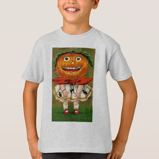 Vintage Halloween Pumpkin Head Girl T-Shirt