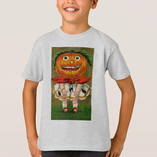 Vintage Halloween Pumpkin Head Girl Tshirt