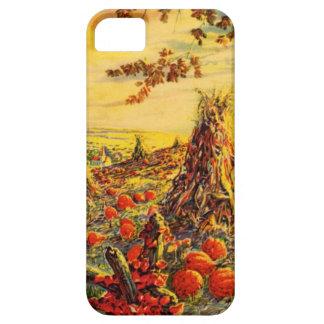 Vintage Halloween Pumpkin Patch with Haystacks iPhone 5 Case