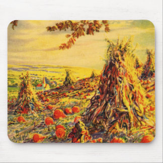 Vintage Halloween Pumpkin Patch with Haystacks Mouse Pad
