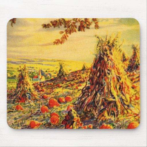 Vintage Halloween Pumpkin Patch with Haystacks Mousepad
