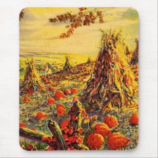 Vintage Halloween Pumpkin Patch with Haystacks Mousepads