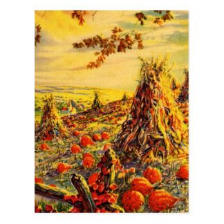 Vintage Halloween Pumpkin Patch with Haystacks Postcard